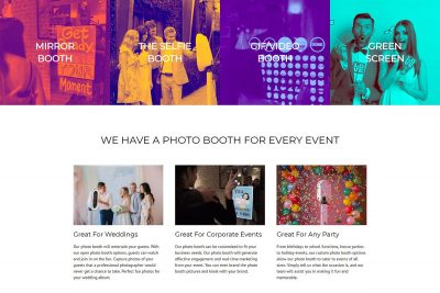 Photo booth website design for SnapSnap! Photo Booths